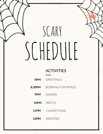Spider and Cobweb Halloween Party Schedule Scary