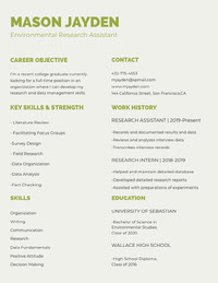 Green Environmental Research Assistant University Student Resume Resume for Freshers
