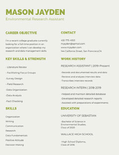 Green Environmental Research Assistant University Student Resume Science