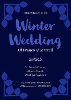 blue winter wedding invite Frame
