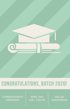 Light Green Graduation Poster with Mortarboard Graduation Congratulation