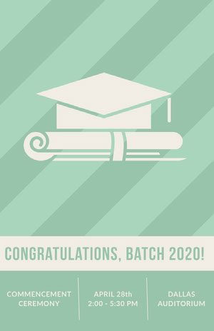 Light Green Graduation Poster with Mortarboard Graduation Poster