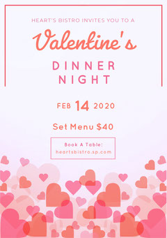 floating hearts valentines party invitation  Holiday Party Flyer