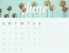 June Calendar with Palm Trees Summer