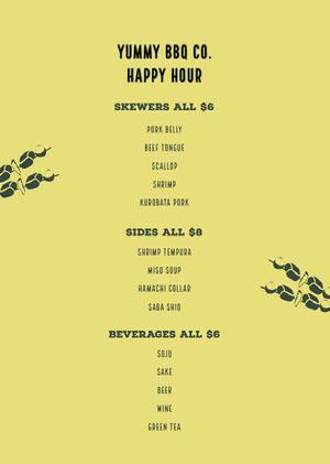 Green and Black BBQ Menu Happy Hour Invitations
