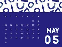 White and Navy Blue Calendar Card Calendar
