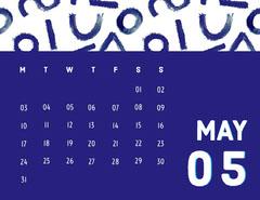 White and Navy Blue Calendar Card Spring