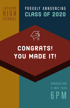 Brown and Blue Congratulations Card Graduation Congratulation