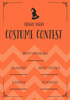 Fright Night Halloween Party Costume Card Halloween Costume Contest