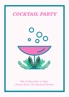 pink blue green cocktail party invite card  Drink