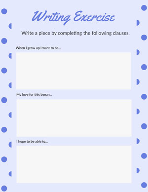 Blue Polka Dot English Writing Exercise School Worksheet Työkirja