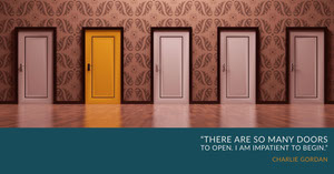 Blue With Doors Quote Social Post Banner LinkedIn