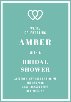 Teal Bridal Shower Invitation Card with Joined Hearts Heart