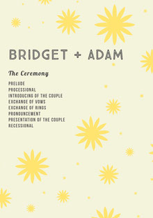 Yellow and White Wedding Ceremony Program Programa de bodas