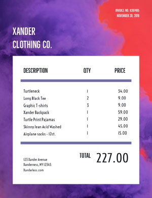 Violet and White Clothing Invoice 청구서