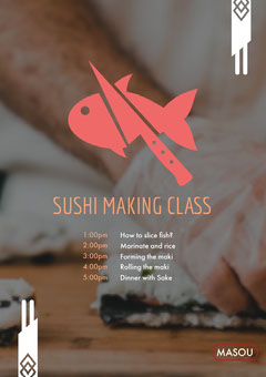 Red and Beige Cooking Class Program Sushi