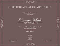 Brown Elegant Calligraphy Interior Design Course Completion Certifiacte Educational Course