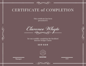Brown Elegant Calligraphy Interior Design Course Completion Certifiacte Certificat