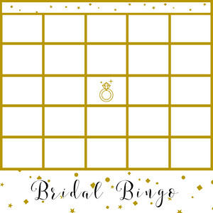 Gold Elegant Bridal Bingo Card with Ring Cartazes de jogos