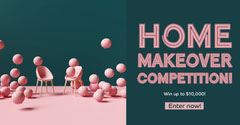 Green & Pink Home Makeover Facebook Banner Balloon