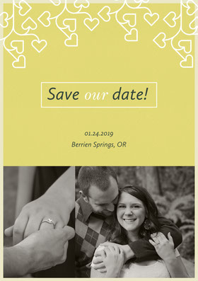 Elegant Yellow Save the Date Wedding Invitation Card with Happy Couple Annonce de mariage
