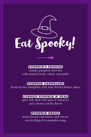 Violet and White Halloween Trick Or Treat Party Menu  Festa di Halloween