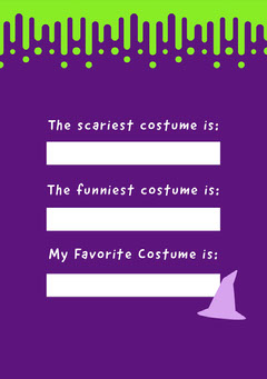 Slime Halloween Party Costume Card Halloween Costume Contest