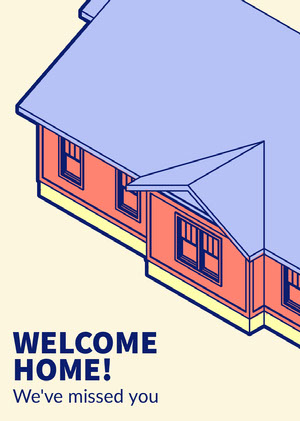 Blue, Red and White Welcome Card  Welcome Card Messages