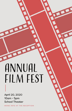 Red, Black and Grey, Annual Film Festival Poster Film Festival Poster