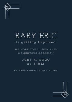 White and Navy Blue Baptism Invitation Baptism