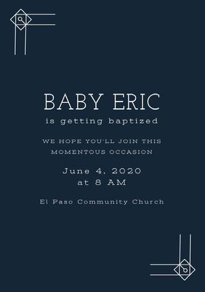 White and Navy Blue Baptism Invitation Baptism Invitation