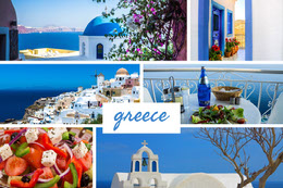 Blue Greece Travel Mood Board Montage photo