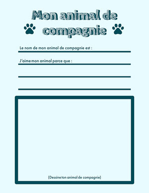 blue my pet worksheet - letter  Fiche d'exercices