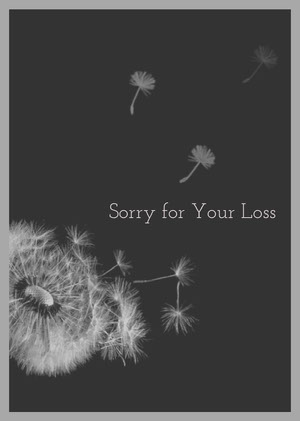 Dark Toned, Grey and Black Sorry for Your Loss Card 慰問卡