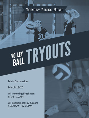 Blue and White Volleyball Tryouts Poster Pelikortit