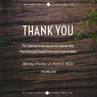 Brown Rustic Wood Wedding Thank You Card Thank You Messages
