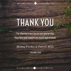 Brown Rustic Wood Wedding Thank You Card Rustic Wedding Invitation