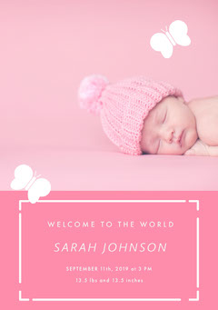Pink and White Birth Announcement Baby's First Year