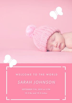 Pink and White Birth Announcement Aankondiging