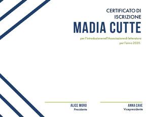 Madia Cutte Certificato