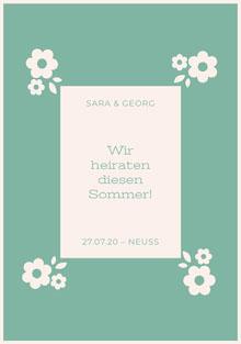 light blue and floral  wedding cards Hochzeitsdankeskarten