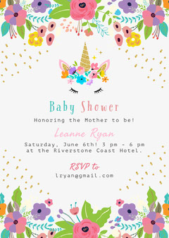 Colorful Unicorn Baby Shower Invitation Baby Shower (Girl)