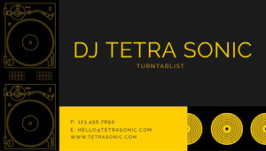 Yellow  Color-Blocked DJ Business Card Copy Business Card