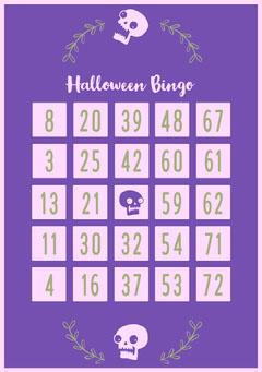 Floral Skull Halloween Party Bingo Card Halloween Party Bingo Card