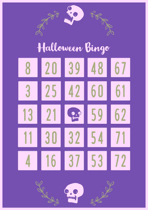 Violet and White Floral Skull Halloween Party Bingo Card Cartazes de jogos