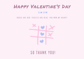 tic tac toe valentines thank you card Thank You Card