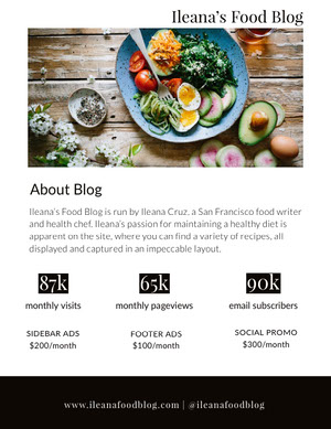 Food Blog Media Kit with Salad Photo Kit per i media