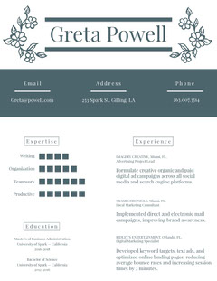 Gray Marketing and Advertising Specialist Resume Marketing