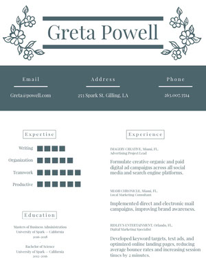 Gray Marketing and Advertising Specialist Resume Resume  Examples
