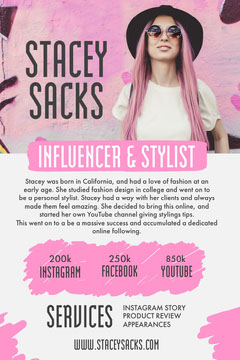 Pink & Grey Scribbles Influencer Media Kit Pinterest Post Blogger